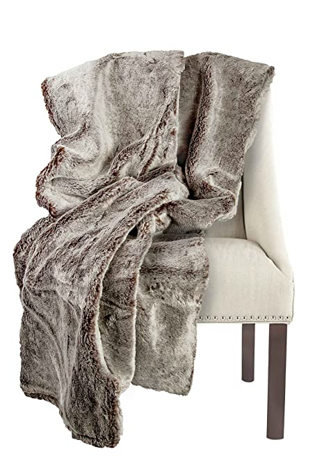 """Authentic Fox Faux Fur Two Tone Grey Brown Thick Super Soft Throw Blanket 50"""" X 60"""""""