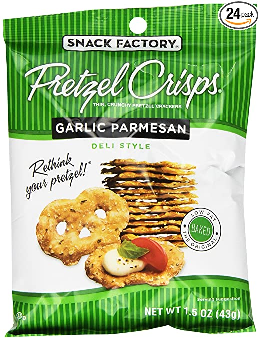 Snack Factory Garlic Parmesan Snack Factory Pretzel Crisps, 1.5 Ounce (Pack of 24)
