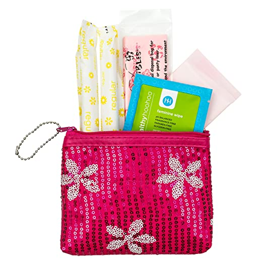 Period Starter Kit - Fashionable and Organic Menstrual Period Survival Kit - When Aunt Flo Makes a Surprise Visit! (Your First Choice To-Go!)