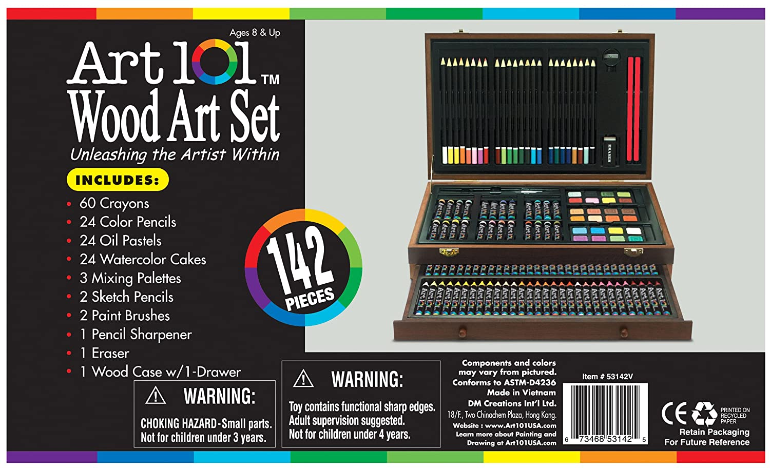 Deluxe art set drawing painting supplies wooden box case for Craft sets for 7 year olds