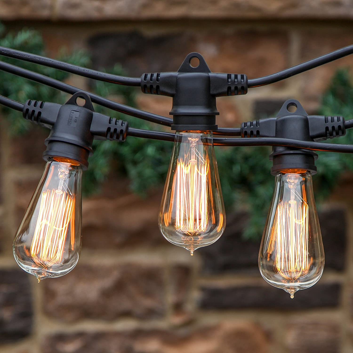 Ambience Pro Vintage Edition Outdoor Commercial String Lights with Nostalgic Edison Bulbs