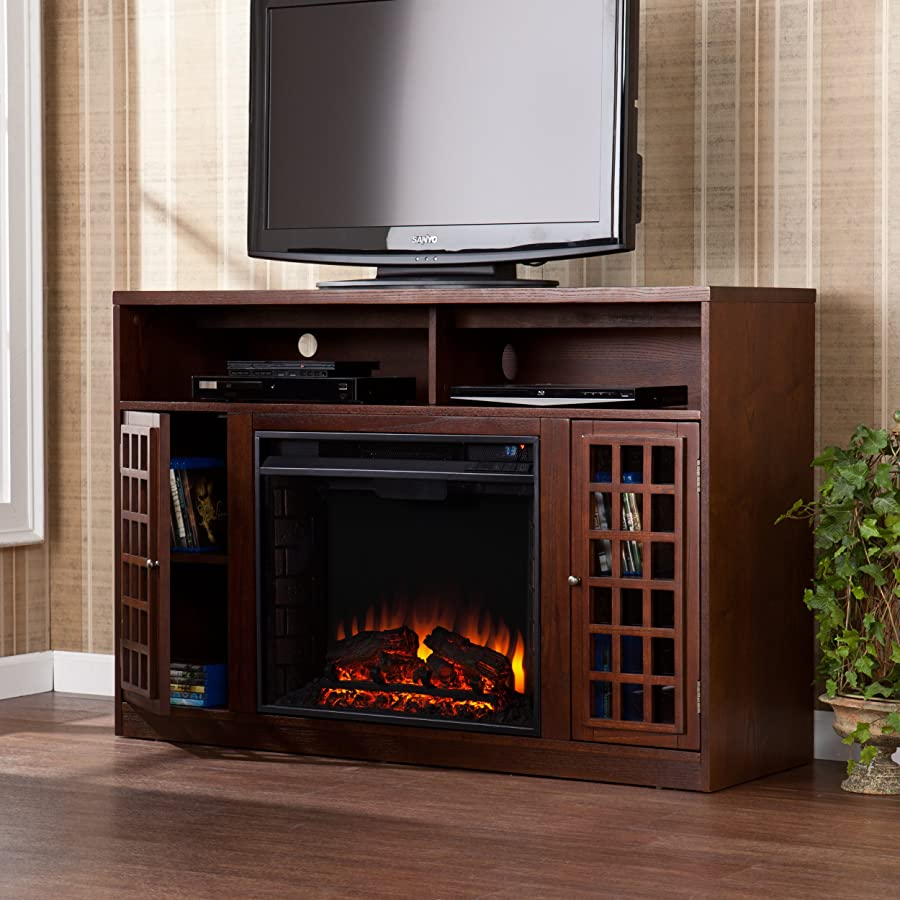 Sei Narita Media Console With Electric Fireplace Espresso With Fireplace  Home