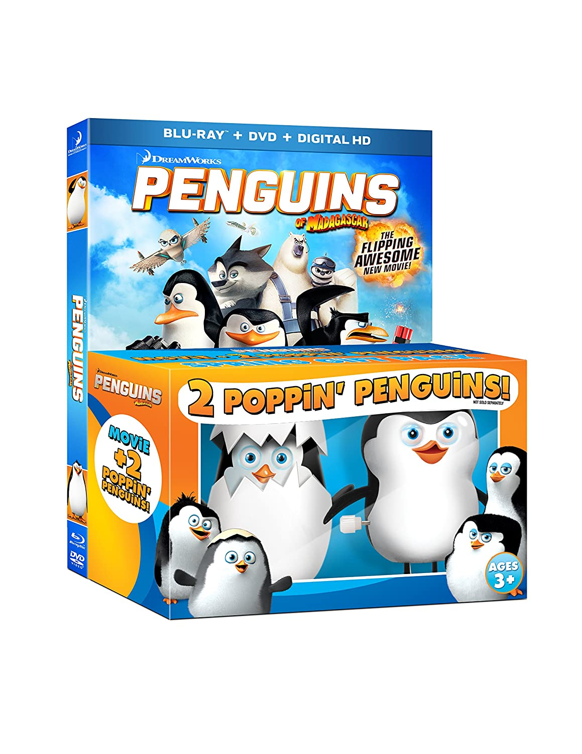 Penguins of Madagascar with 2 Poppin' Penguins Toys [Blu-ray]