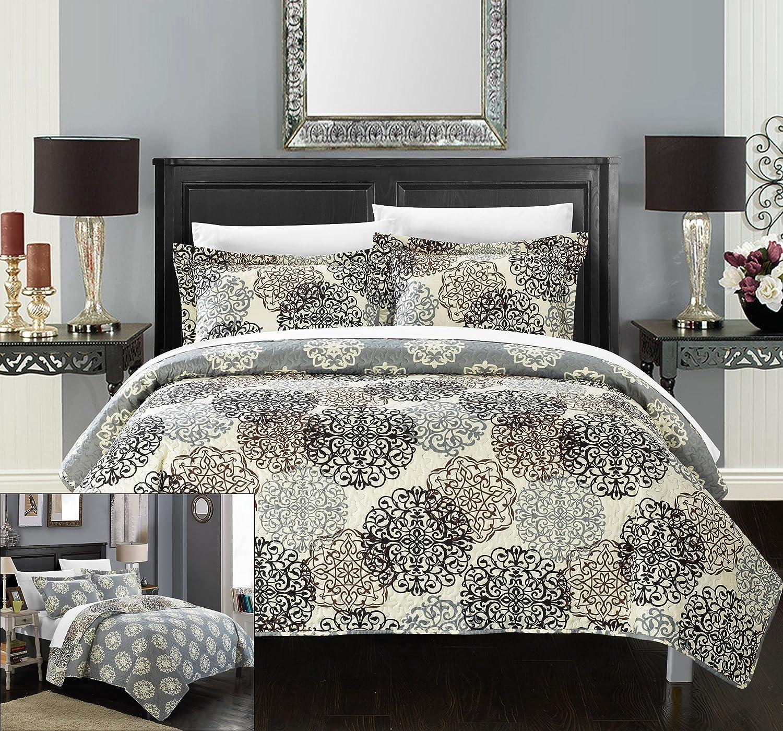 3 piece kelsie boho inspired reversible print quilt set king beige