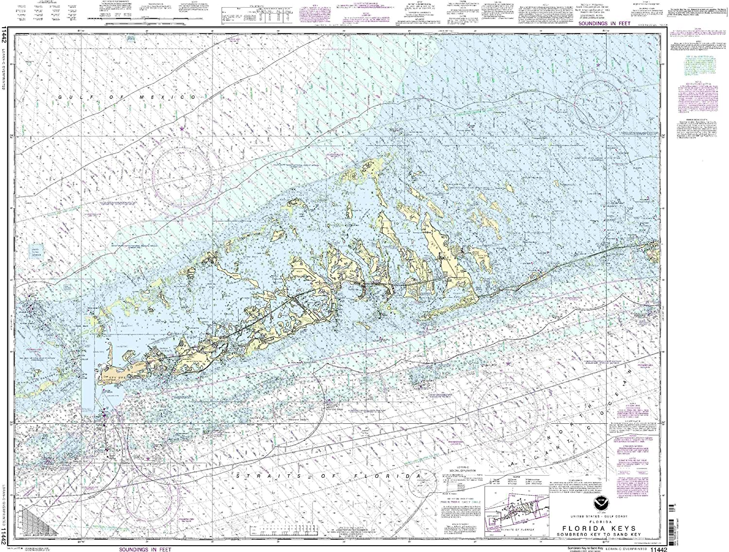 Details about NOAA Chart Florida Keys Sombrero Key to Sand Key 36th Edition  11442
