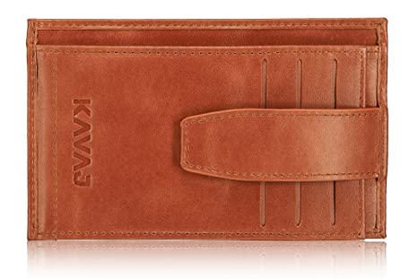 Thinnest Wallets on the internet: KAVAJ Men's Munich Leather Wallet One Size Cognac Brown USD Notes