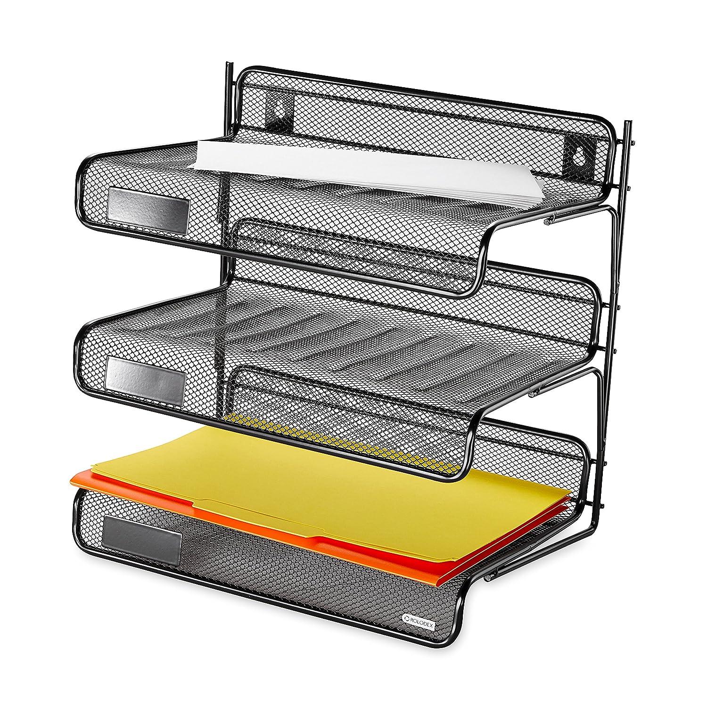 Rolodex Desk Shelf Organizer 3 Tier Plastic Storage Tray Document Holder  Office